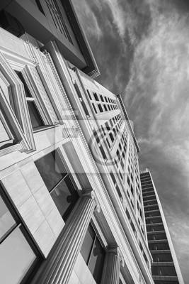 Obraz Czarno-biały obraz z wieżowców w Salt Lake City, Utah, USA.