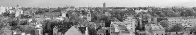 Czarno-biały panoramiczny widok miasta Szczecin (Szczecin), Niebuszewo, Polska.