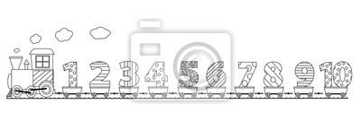 Obraz Czarno Biały Pociąg Z Numerami Stronie Kolorowanki Dla