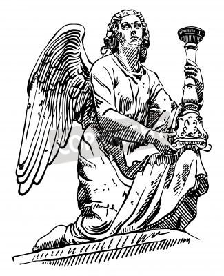 Obraz czarno-biały szkic rysunek marmuru posąg anioła z Rzymu, Włochy, ilustracji wektorowych