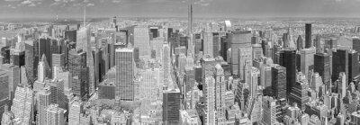 Obraz Czarno-biały widok z lotu ptaka Manhattanie w Nowym Jorku.