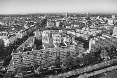 Czarno-biały widok z lotu ptaka miasta Szczecin (Szczecin), Polska.