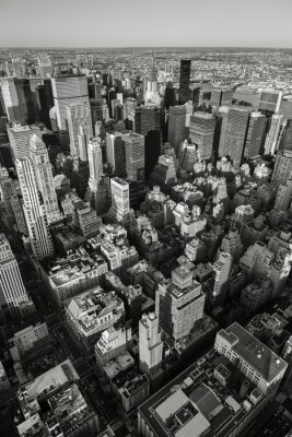 Obraz Czarno-biały widok z lotu ptaka w Nowym Jorku