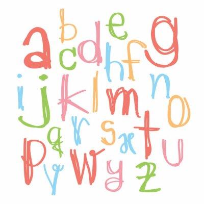 Obraz Czarny alfabet kolorowe małe letters.Hand sporządzony pisemny dowcip