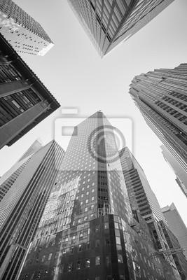 Obraz Czarny i biały obrazek Manhattan drapacze chmur, Miasto Nowy Jork, usa.