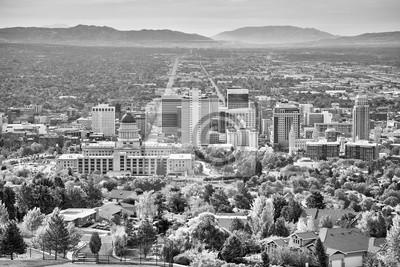 Czarny i biały obrazek Salt Lake City, Utah, usa.