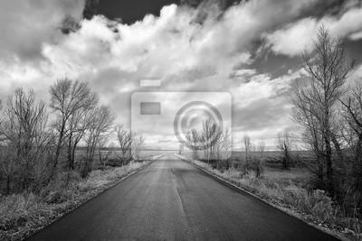 Czarny i biały obrazek sceniczna droga w Uroczystym Teton parku narodowym, Wyoming, usa.