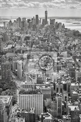 Czarny i biały powietrzny obrazek Manhattan, Miasto Nowy Jork, usa.