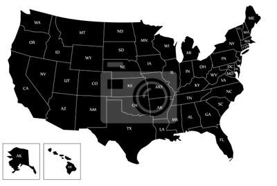 Obraz Czarny mapa USA