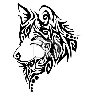 Czarny Wilk Wilki Usłyszeć Tribal Tatuaż Wektor Obrazy Redro