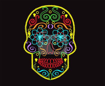 Czaszka Wektora Tło Dla Projektowania Mody Wzory Tatuaże Neonowych Obrazy Redro