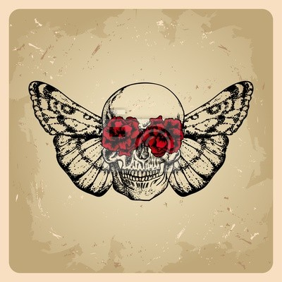 Obraz Czaszka Z Kwiatami I ćmy W Stylu Tatuaż Na Wymiar Czerwony
