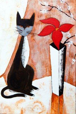 Obraz Czat noire avec un fleur