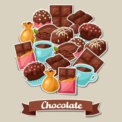 Obraz Czekolada tła z różnych smakowitych słodyczy i cukierków