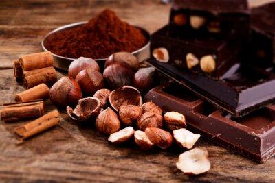 Obraz czekolady i składniki - tilt shift efekt zdjęć