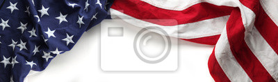Obraz Czerwona, biała i niebieska flaga amerykańska na dzień pamięci lub weterana w tle dzień