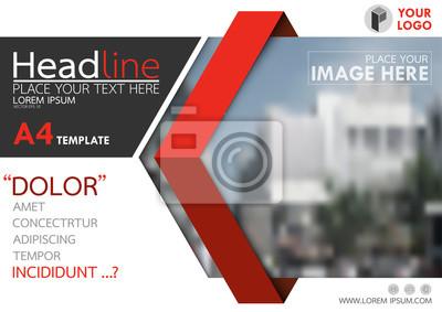 Obraz Czerwona i czarna ulotka okładka broszura biznesowa wektora projektu, ulotki reklamy abstrakcyjne tło, plakat nowoczesnych plakatów szablonu, horyzontalne sprawozdanie roczne dla prezentacji.