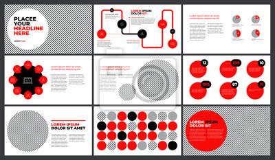 Czerwona prezentacja szablonu projektu. Wykresy danych biznesowych. Wektorowe wykresy finansowe i marketingowe.