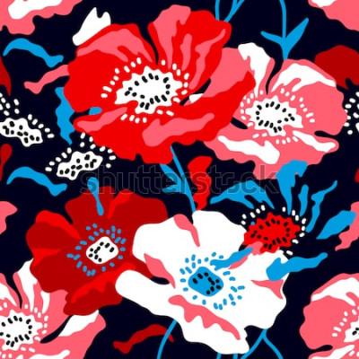 Obraz Czerwone i białe duże maki na ciemnym niebieskim tle. Bezszwowy kwiecisty wzór z Hiszpańskimi motywami. Modny design na tekstylia, karty i okładki.