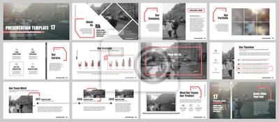 Obraz Czerwone i szare elementy dla infografiki na białym tle. Szablony prezentacji. Wykorzystanie w prezentacji, ulotce i ulotce, raportach firmowych, marketingu, reklamie, rocznym raporcie, banerze.