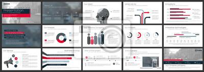 Obraz Czerwone i szare elementy infografiki na białym tle. Użyj w szablonach prezentacji, ulotkach i ulotkach, raportach firmowych, marketingu, reklamie, rocznym raporcie i banerze.