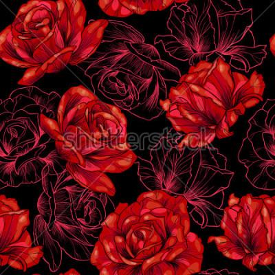 Obraz Czerwone róże na czarnym tle