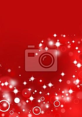 Czerwone tło z efektami świetlnymi koła i gwiazd błyszczących
