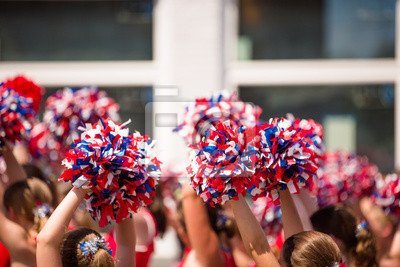 Obraz Czerwony, biały i niebieski Pom Poms, amerykański Cheerleader
