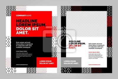 Obraz Czerwony i czarny szablon układu broszury, tło projektu okładki i raporty roczne.