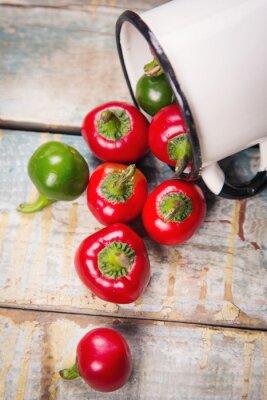 Obraz czerwony i zielony pieprz