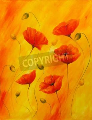 Obraz Czerwony mak na pomara? Czowym tle. Czerwone maki. Czerwony kwiat na tle abstrakcyjnego koloru.