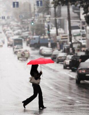 Obraz czerwony parasol