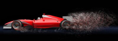 Obraz Czerwony samochód sportowy z szlak pyłu