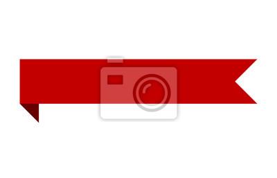 Obraz Czerwony sztandar wstążki taśmy ze zginania płaskiej konstrukcji dla drukowanych i internetowych