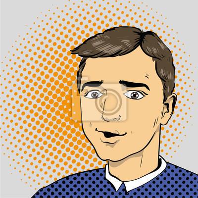 Człowiek w komiksach retro stylu pop. ilustracji wektorowych