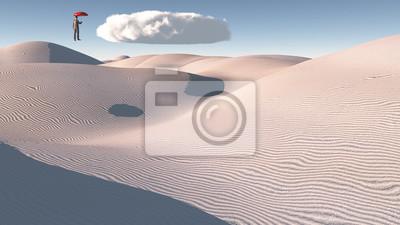 Obraz Człowiek w odległości z pojedynczym chmurze
