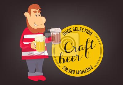 Człowiek z piwem rzemiosła. Ilustracji wektorowych.