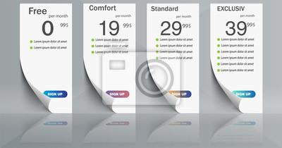 Cztery banery taryfowe. Baner z papieru. Projekt wektor dla aplikacji sieci web. Cennik.