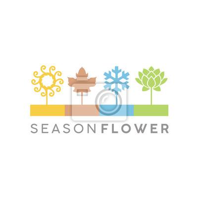 Obraz Cztery kwiatów sezonów ikony loga Ilustracyjny projekt