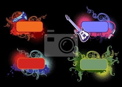 Obraz Cztery Muzyka Kolor Banery Na Czarnym Tle.