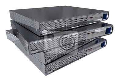 Cztery nowoczesne komputery Server Pojedynczo na białym.