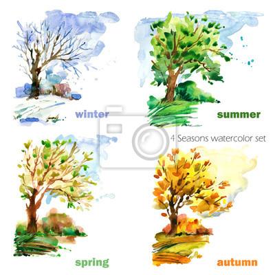 Obraz cztery pory roku zestaw ilustracji akwarela