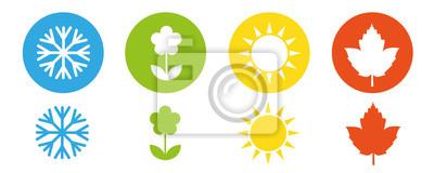 Obraz cztery pory roku zima wiosna lato jesień ikona zestaw ilustracji wektorowych EPS10
