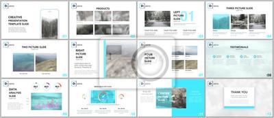 Obraz Czyste i minimalne szablony prezentacji. Niebieskie elementy na białym tle. Projekt okładki broszury wektorowej. Prezentacje slajdów na ulotki, ulotki, broszury, raporty, marketing, reklama, baner