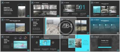 Obraz Czyste i minimalne szablony prezentacji. Niebieskie elementy na czarnym tle. Projekt okładki broszury wektorowej. Prezentacje slajdów na ulotki, ulotki, broszury, raporty, marketing, reklama, baner