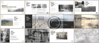 Obraz Czyste i minimalne szablony prezentacji. Żółci kolorów elementy na białym tle. Projekt okładki broszury wektorowej. Prezentacje slajdów na ulotki, ulotki, broszury, raporty, marketing, reklamy.