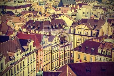 Dachy Pradze, w Czechach, zabytkowe stylu retro.