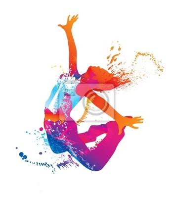 Obraz Dancing girl z kolorowe plamy i plamy na białym tle