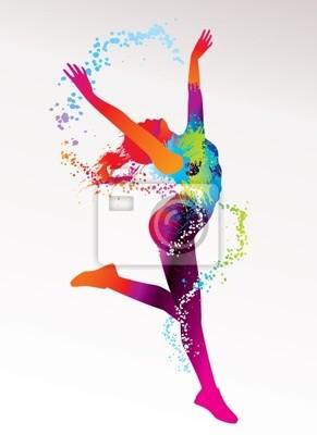 Obraz Dancing girl z kolorowe plamy i plamy na jasnym bac
