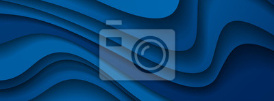 Obraz Dark blue paper waves abstract banner design. Elegant wavy vector background